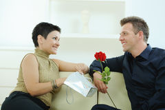 Man giving red rose. Romantic man giving red rose to woman for Valentine's Day Stock Photos