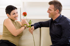 Man giving red rose. Romantic man giving red rose to woman for Valentine's Day Royalty Free Stock Image