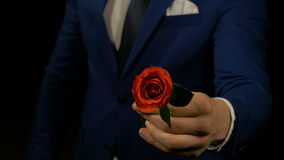 Man giving a red rose flower for first date. Man giving red rose flower for first date stock video footage