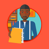 Man giving resume vector illustration. An african-american businessman giving a resume in office. Man giving to the employer his curriculum vitae. Job interview Royalty Free Stock Photo