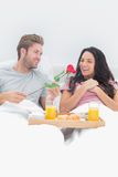 Man giving a rose to his wife Stock Images