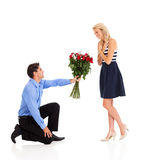 Man giving roses to a woman royalty free stock photo