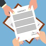 Man giving signed contract form to woman. Business man giving signed contract form to woman. vector illustration stock illustration