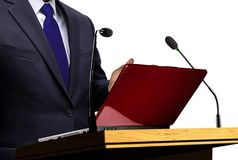 Man Giving Speech at Seminar Presentation Royalty Free Stock Images