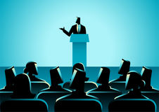 Man Giving A Speech On Stage. Business concept illustration of businessman giving a speech on stage. Audience, seminar, conference theme Stock Photos