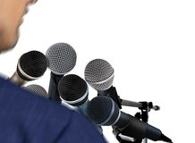 Man Giving Speech Using Microphones Royalty Free Stock Images