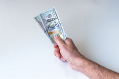Man giving two hundred US Dollars Stock Photos