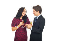 Man giving the wedding ring to hie girlfriend Royalty Free Stock Images