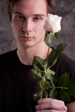Man giving a white rose of love Royalty Free Stock Photos