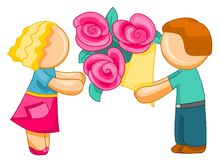 Man giving woman bouquet of flowers. Illustration for web. Pretty woman getting red flowers from his partner. Isolated over white background stock illustration