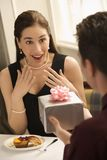 Man giving woman gift. stock images