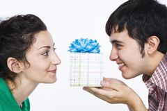 Man giving women a gift royalty free stock images