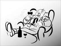 Man with glass. In armchair Royalty Free Stock Image