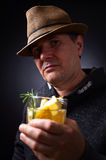 Man with glass of alcoholic drink Royalty Free Stock Photos