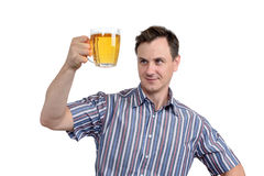 Man with a glass of beer isolated on white Royalty Free Stock Photo