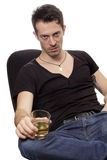 Man with glass of cognac Royalty Free Stock Photo