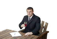 A man with a glass of dissolved arginine Stock Photo