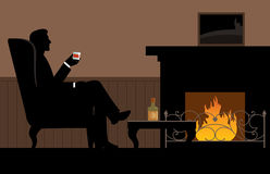 Man with a glass in her hand sitting in the chair. By the fireplace Stock vector illustration Stock Photos