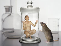 The man in a glass jar Royalty Free Stock Images
