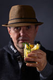 Man with a glass of lemon drink Royalty Free Stock Photo