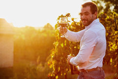 Man with a glass of red wine Royalty Free Stock Images