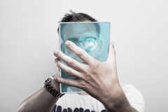 Man with glass tablet pc royalty free stock photography