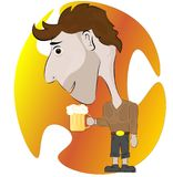Man with a glass of tasty beer on a colored background. royalty free illustration