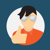 Man in Glass with Thumbs up Hand Sign Flat Icon Royalty Free Stock Photos