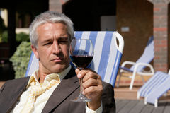 Man with glass of wine Royalty Free Stock Photo