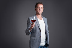 Man with glass of wine Royalty Free Stock Image
