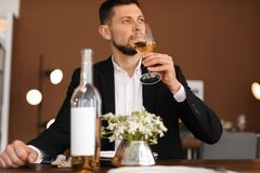 Man with glass of wine at table in restaurant. Professional sommelier Royalty Free Stock Photos