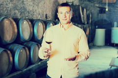 Man with glass of wine in winery cellar. Smiling man posing with glass of wine in winery cellar Stock Photos
