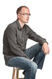 Man in glasses. Portrait of a serious man in glasses Stock Photos