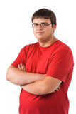 Man in glasses. Portrait of a young serious man in glasses Royalty Free Stock Images