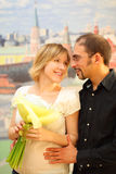 Man in glasses embracing beauty blond girl Stock Images