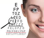 Man with glasses on eyesight test Stock Photo