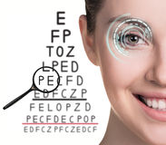 Man with glasses on eyesight test Royalty Free Stock Image
