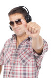Man in glasses with headphones on his head Stock Photography