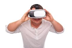 Man in glasses or helmet of virtual reality on a white. Stock Images