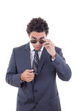 Man with glasses holding keys Royalty Free Stock Image