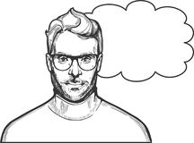 Man in glasses illustration. Vector illustration of ink drawn man in glasses with a stylish hairstyle and beard wearing roll-neck. Close-up portrait in hand stock illustration