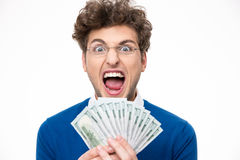 Man in glasses with money shouting Stock Photography