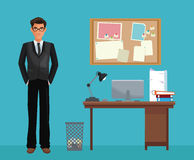 Man glasses office work space desk notice board. Vector illustration eps 10 Royalty Free Stock Photo