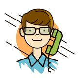 Man in glasses portrait making a call by the phone avatar  Stock Photography