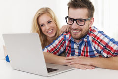 Man with glasses smiling at camera Stock Images