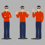 Man in glasses. Stylish man in red shirt Stock Images