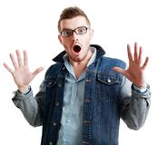 Man in glasses surprised Stock Image