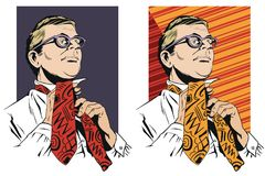 Man in glasses tie a tie. Stock illustration. People in retro style pop art and vintage advertising. Man in glasses tie a tie Royalty Free Stock Photo