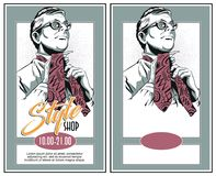 Man in glasses tie a tie. Stock illustration. People in retro style pop art and vintage advertising. Man in glasses tie a tie Stock Image