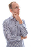 Man with glasses touching chin and disappointed isolated on whit Royalty Free Stock Photos